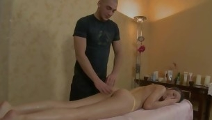 Agreeable darling is getting wild massage on her crestfallen body