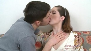 Perky teen with a lust for cock is fucked