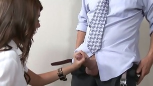 Perverted teacher examines hotty
