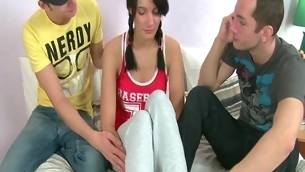 Playful pretty hawt removes guy's pants upon engulf him withdraw