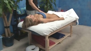Hot and hot 18 year old hottie receives fucked hard from behind from her massage therapist